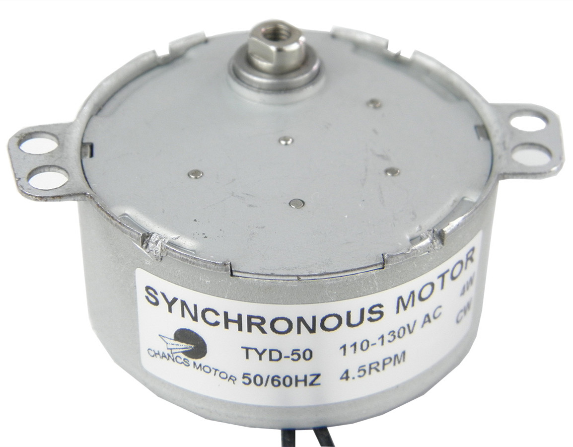 Synchronous <font><b>Motor</b></font> TYD-50 110V AC 4.5RPM Fixed CW Flush Shaft for Turntable image