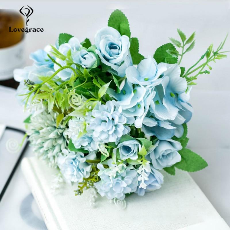 Lovegrace Fake Flower Bouquet 7 Heads Hydrangea Flowers Artificial Bouquet Silk Blooming Rose Peony Pompon Bride Wedding Decor