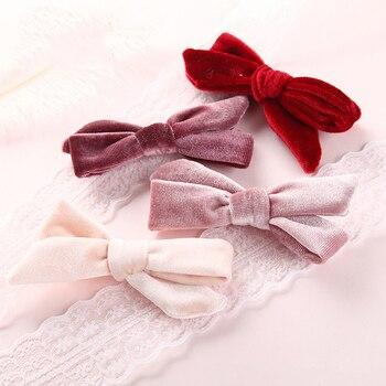 9cm Baby Girl Fashion Velvet Bow Hairpins Girls Cute Lovely Hair Clips Korea Accessories For