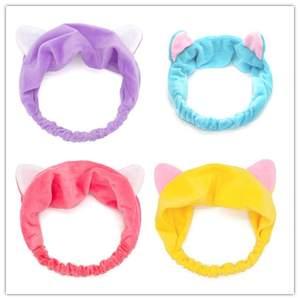 Elastic Hairbands Cat-Ear Headwear Hair-Accessories Makeup Wash-Face Girls Sweet Women