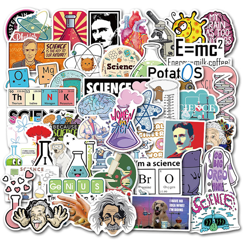 50PCS/lot Science Experiment Chemical Programming Stickers DIY For Laptop PC Phone Suitcase Stationery Waterproof Sticker