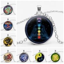 Heat! 2019 Retro Glass Convex Round Buddhist Necklace Chakra Pendant Jewelry Indian Yoga Unisex