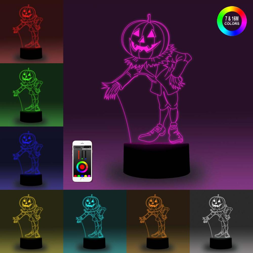 NiteApps 3D Pumpkin Man Night Light Desk Table Illusion Decoration Lamp Holiday Birthday Gift APP/Touch Control