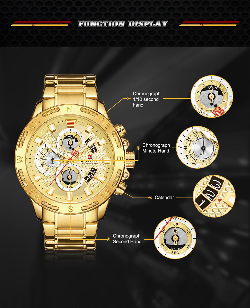 Image 4 - NAVIFORCE Top Brand Mens Watches Luxury Bussiness Watch Digital Quartz Men Military Wristwatch Clock Male Relogio Masculino 9165-in Quartz Watches from Watches