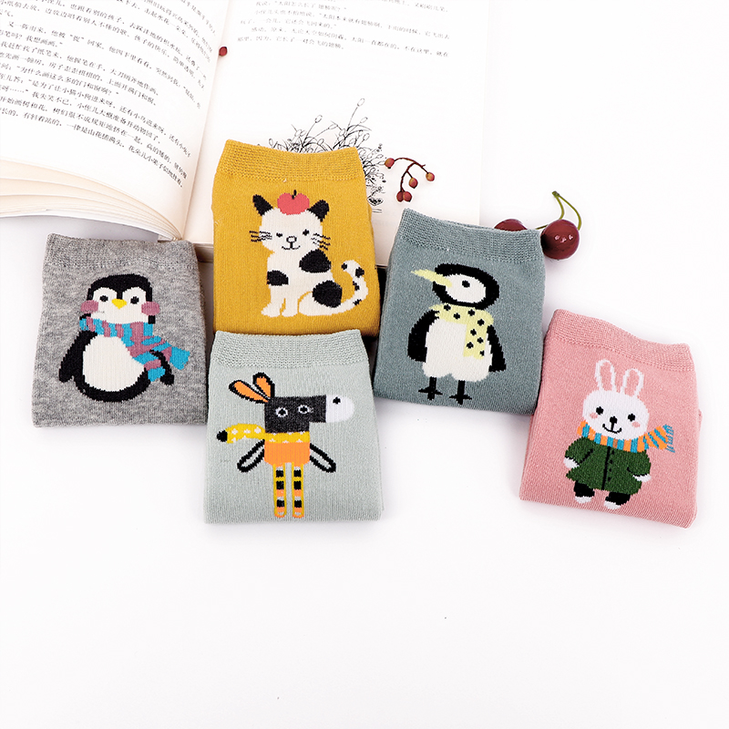 Boat Cotton Socks Cartoon Animals Cat Horses Penguin Soft Comfortable Happy  Cute Quality Women Female Male Fashion Tide Socks