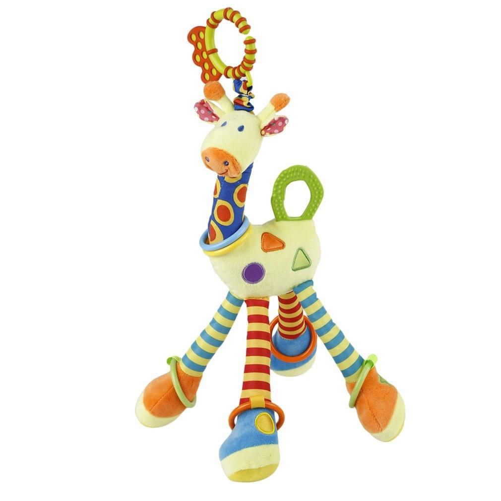 Plush Infant Baby Development Soft Giraffe Animal Handbells Rattles Handle Toys