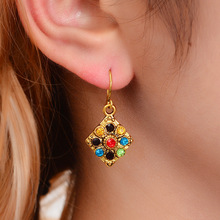 HOCOLE Vintage Antique Gold Ethnic Drop Earrings For Women Tibetan Gypsy Crystal Square Pendant Dangle Earring Indian Jewelry