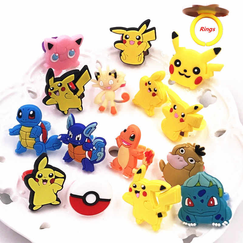 1PCS Pokemon Icon Animal Anime Pikachu Monster Jigglypuff Charmander Squirtle Cartoon Finger Rings Kids Party Gifts Decoration