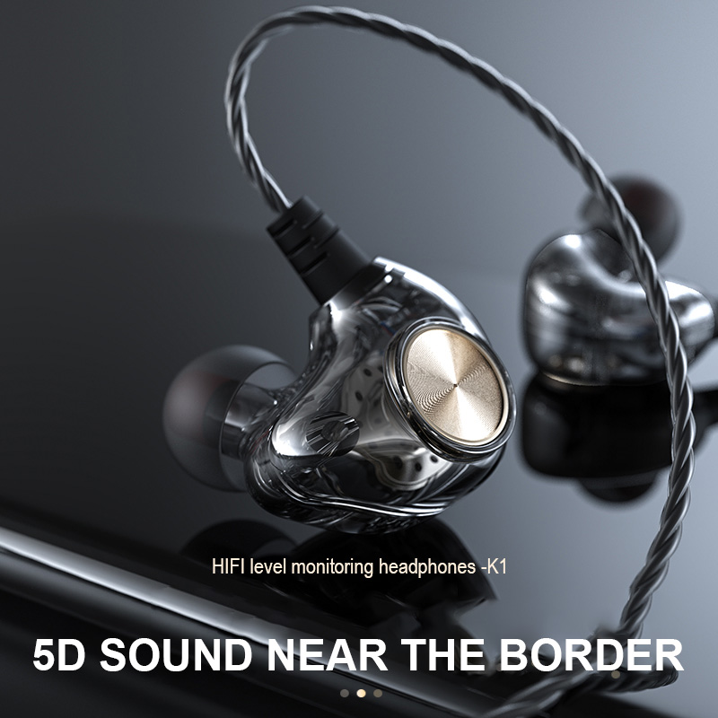 Original Fonge K1 Earphone Headphones 3.5mm Transparent In-Ear Earbuds Subwoofer Stereo Bass Earphone With Mic Running FS