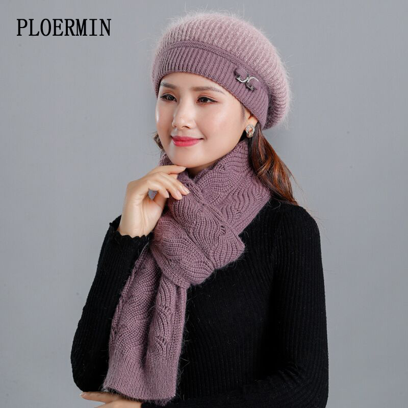 Good Quality Women's Winter Beret Hat Sets Rabbit Fur Beanies Hat And Scarf Lady Fashion Warm Knitted Hats