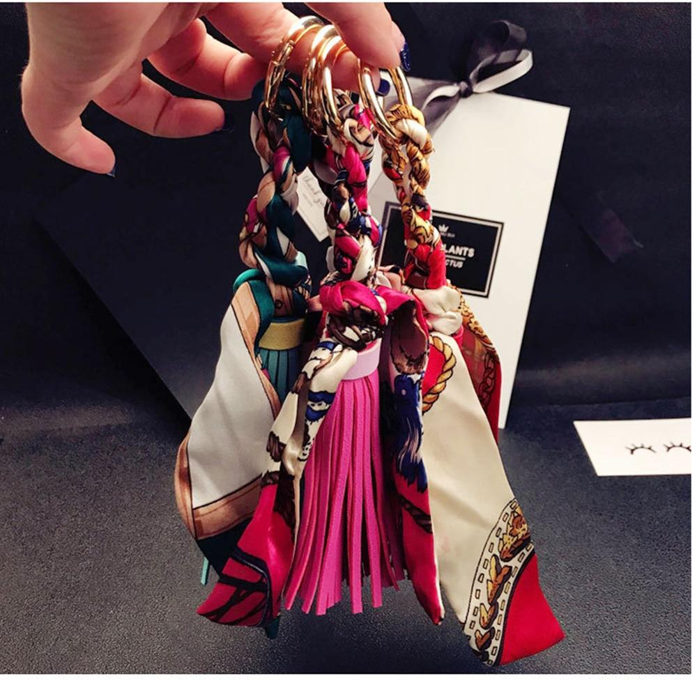 Scarf Tassel Silk Satin Women Key Ring Key Chain PU Leather Keychain