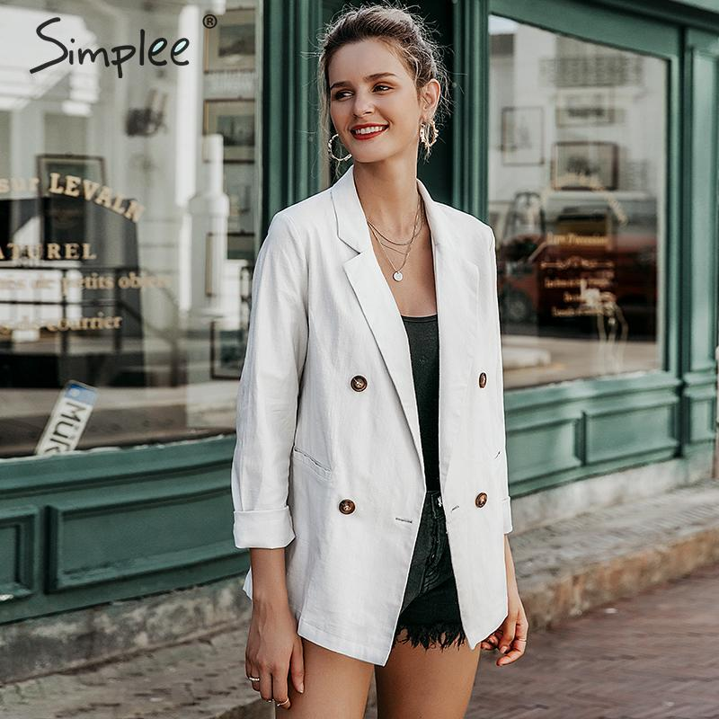 Simplee Double Breasted Women Blazer Coat Autumn Casual Office Ladies Outwear Blazer Streetwear Female Solid Jacket Coat 2019