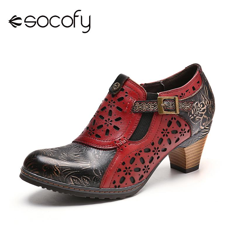 SOCOFY Retro Boots Embossed Genuine Leather Splicing Hollow Zipper Pumps Ladies Shoes Women Botines Mujer 2020