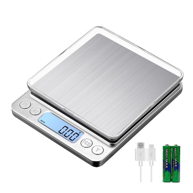 KUBEI قابلة للشحن ميزان المطبخ الرقمي ، 3 كجم 0.1 جرام/1 كجم 0.01 جرام ميزان المطبخ مقياس مجوهرات مع صينية متعددة الوظائف مقياس الطبخ