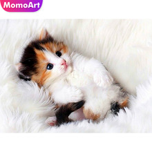 MomoArt Cat Diamond Embroidery Animal Painting Full Square/round Stones Mosaic Wall Decoration