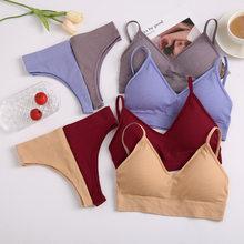 New Women Padded Bra Brazilian Panties Set Seamless Tops Sports Bra Set Sexy Thongs Girl Lingerie Fitness Crop Top Underwear