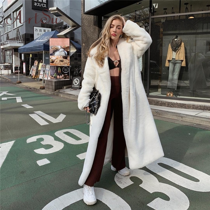 Artsu White Faux Fur Teddy Bear Coat Women Fluffy Winter Jacket Oversized Long Shaggy Cardigan Warm Trench Coats ASCO60715