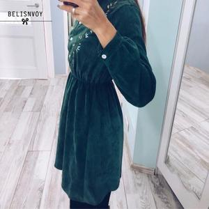 Image 3 - 2020 New Autumn Dress Lady Long Sleeve Sweet Retro Fashion Green Floral Embroidery Mujer Vestidos Women Winter Warm Corduroy