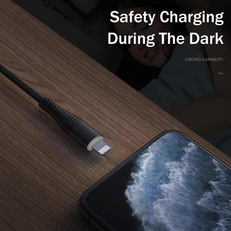 IPhone için USB kablosu 11 Pro MAX X XS XR 7 8 şarj naylon örgü hızlı şarj aydınlatma kablosu iPad veri Iphone ChargerCord tel