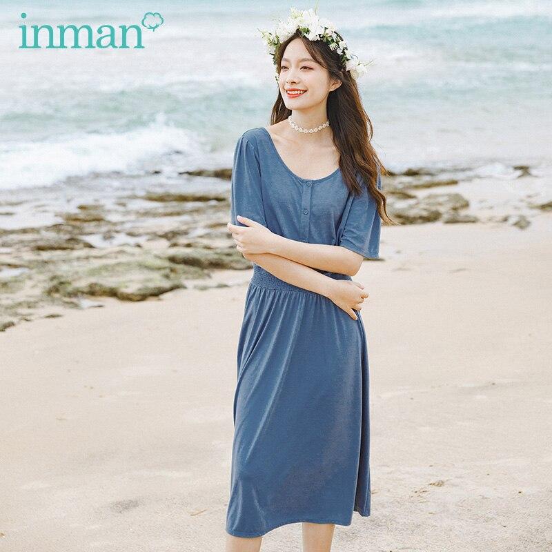 INMAN 2020 Summer New Arrival Elegant Nipped Waist Slimmed Retro Temperament Short Sleeve Dress