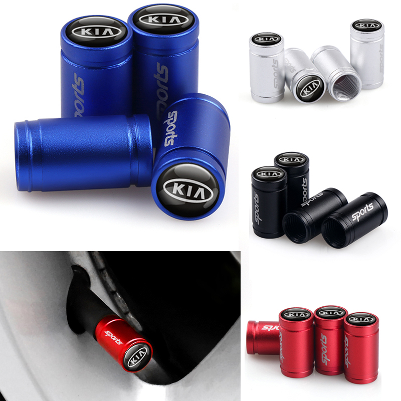 4pcs Car Styling Sports Badge Wheel Tire Valve Cap Tyre Dust Cap For KIA K2 K3 K5 Sorento Sportage R Rio Soul Auto Accessories