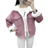 2019 Autumn Winter Corduroy Jacket Female Korean Cotton Jacket Suit Short Thickening Students BF Wind Lamb Fur Coat Loose