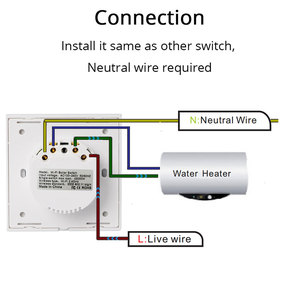Image 5 - Smart Wifi Boiler Switch Water Heater Switches Voice Remote Control EU standard Touch Panel Timer Outdoor work alexa google home