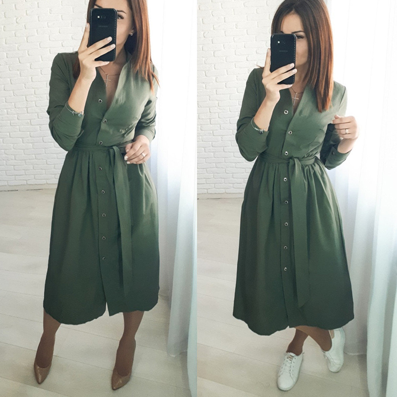 Women Casual Sashes A Line Party Dress Ladies Long Sleeve Stand Collar Elegant Dress 2019 New Fashion Women Midi Dress Winter