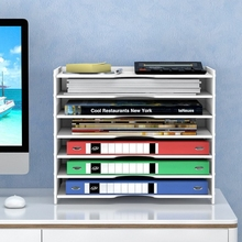 Multi-layer Folder Storage Box Office Organizer File Holder Multi-Use Sundries PVC Wood Bedside Desk