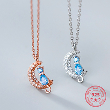 925 Sterling Silver Cute Moon Cat Pendant Crystal Necklace Korean Style Women Luxury Jewelry cute rabbit style rhinestone pendant necklace pink silver