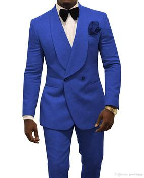 Custom Made Slim Fit Royal Blue Jacquard Prom Party Double Breasted Suit Men Wedding Suits Groom Tuxedos For Men (Jacket+Pants)