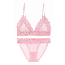 Sexy Pink Bra sets for Women Soft Lace Bralette set New French Style Wireless Lingerie Thin Deep V Underwear Transparent Sex Bra(China)