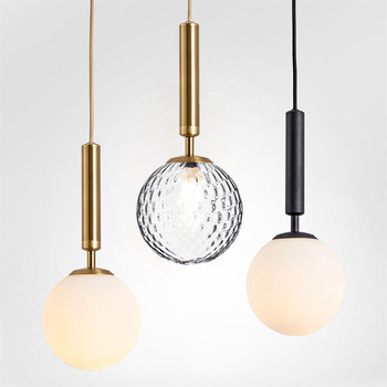 Modern minimalist glass ball pendant light restaurant single head lamp Nordic creative personality bedroom bedside lamp LB022013