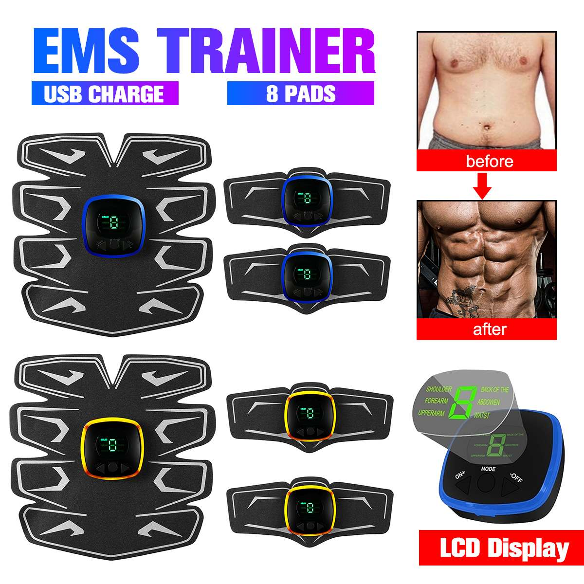 LCD Display Muscle Training Gear Electric Muscle Stimulator Body Massage Slimming Exercise Relaxation Trainer Fitness Equipment