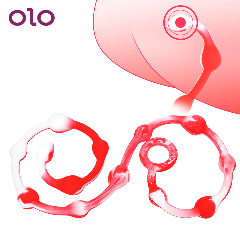 OLO Super Long Anal Plug Butt Plug Pull Ring Dilatator <font><b>Ball</b></font> 110cm/43.3inch Anal Beads <font><b>Ass</b></font> Massage Sex Toys for Women Men Gay image