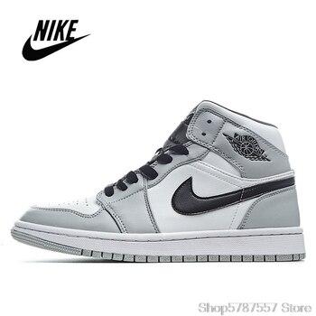 Original NIke Air Jordan 1 Mid Light Smoke Grey Men's and Women's Basketball Shoes Size 36-45 554724-092