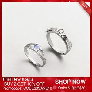 Image 1 - Thaya Natuurlijke Blauw Licht Maansteen Ringen Romantische Ring 100% S925 Zilveren Armour Bands Voor Vrouwen Vintage Elegante Sieraden