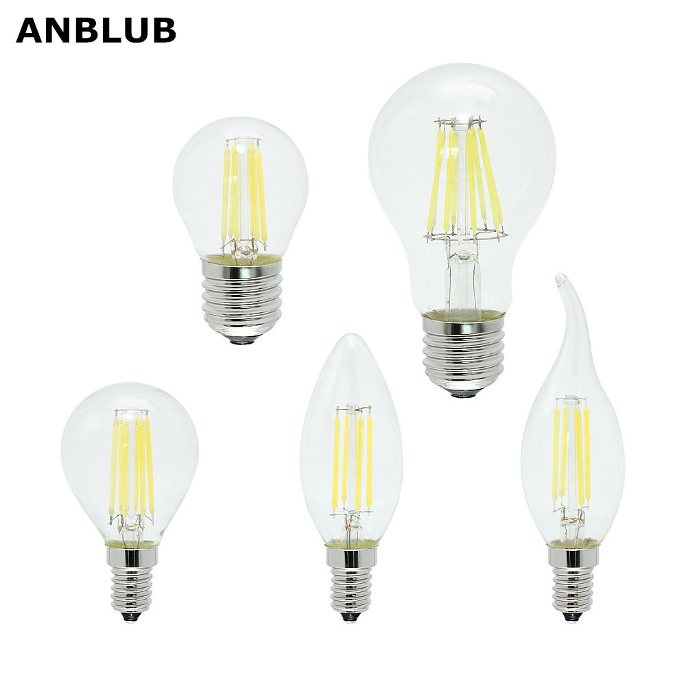 ANBLUB E27 E14 Glass LED Filament Bulb Dimmable 2W 4W 6W 8W Vintage Edison Candle Light Replace Halogen Lamp For Chandelier