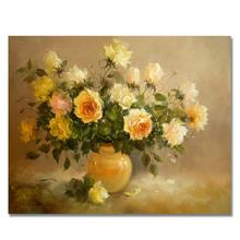 RIHE Yellow Rose DIY Painting By Numbers Kit, Framed Paint By Numbers on Canvas, Modern Wall Art Picture, Acrylic Paint 40x50cm rihe exquisite rose flowers framed oil painting by numbers coloring by numbers modern wall art picture home decoration 40x50cm