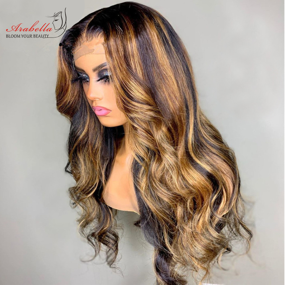 Blonde Streaks 13x4  Wigs With Baby Hair Lace Front Wig Body Wave  Highlight Straight Lace Frontal Wig 1