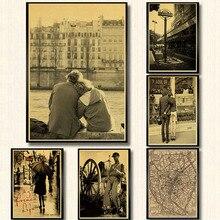 Pósteres de película Vintage foto romántica la Torre Eiffel en París, Francia personaje Retro edificio papel Kraft adorno póster de pared