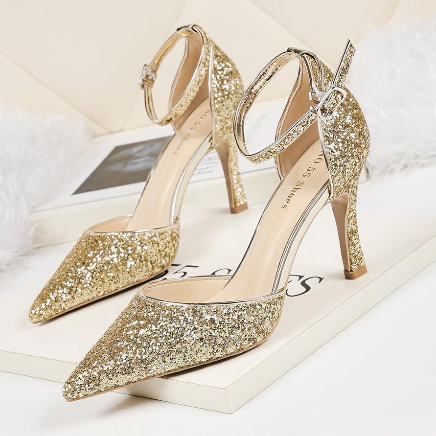 Women's Shoes Pumps Shinning Glitter Pointed Toe Super High Fine Heel Summer Ankle Strap Wedding Party Dress Zapatos De Mujer