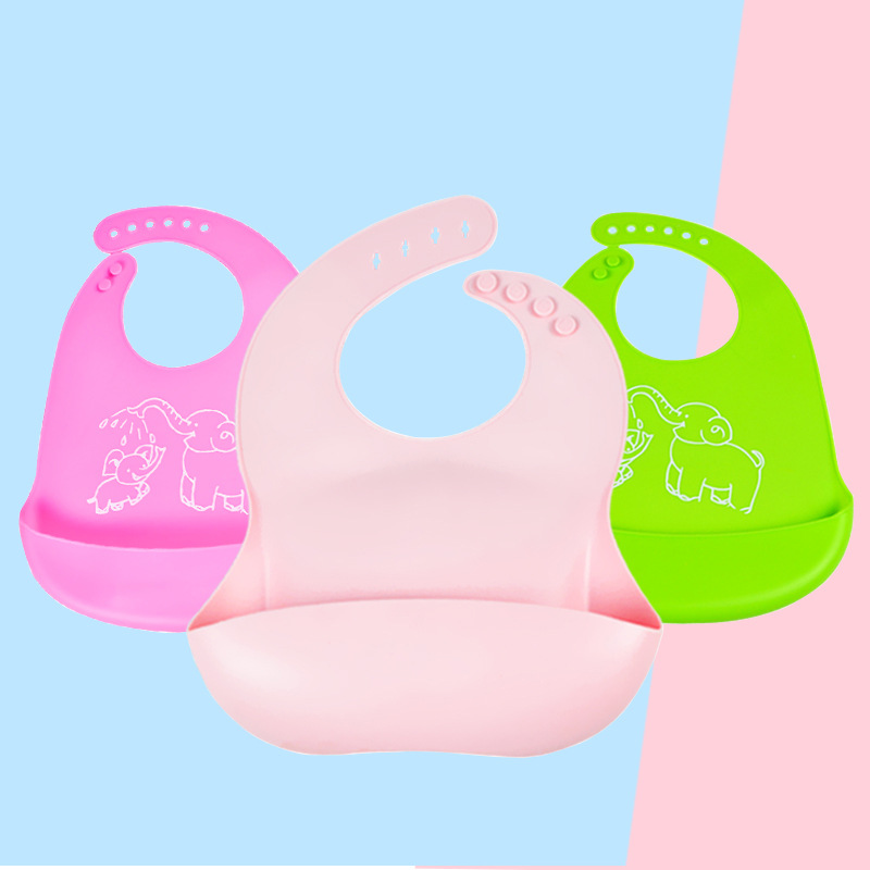Baby Bibs Food Grade Silicone Drool Bib Soft And Comfortable Saliva Towel Oil-proof Lunch Bib Adjustable Newborn Cartoon Aprons