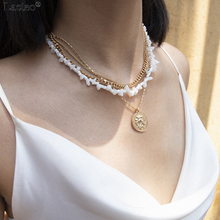 цены Lacteo Retro Alloy Carved Coins Pendant Necklaces for Women Statement Fashion Multi Layer Natural Opal Chain Female Necklace