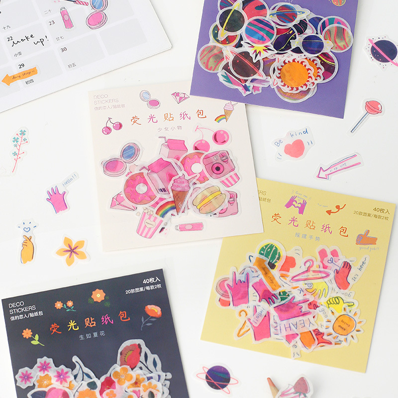 Mohamm 40PCS Girlish Series Fluorescent Sticker Creative Fresh Lovely Cute Sticker Flakes Scrapbooking Girl School Supplies Stat