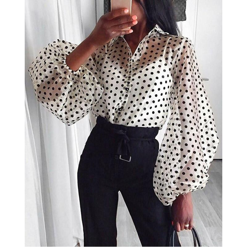 2020 Fashion Long Sleeve Turn Down Collar Shirt Chiffon Office Blouse Slim Casual Plus Size Tops