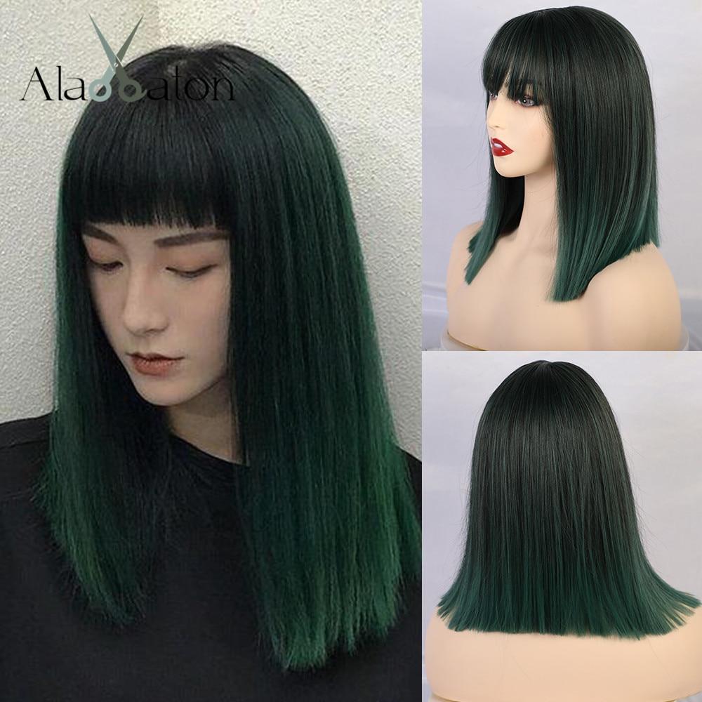 ALAN EATON Women Medium Straight Synthetic Wigs High Temperature Hair With Fringe/bangs Mix Green Black Bobo Lolita Cosplay Wig