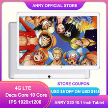Gift Packing X20 ANRY Tablet Pc 10.1 Inch IPS 1920x1200 Deca Core 4G Phone Call Phablet Deca Core 4GB RAM 64GB ROM Android 8.1