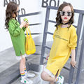 Girls Letter Straight Dresses Long Sleeve Spring and Autumn Children's Casual Clothes 3-15 Years Old Kids Lace Dress 2 Colors