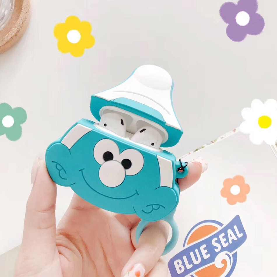 Para AirPods funda para auriculares de dibujos animados infantiles Genie azul para Airpods 2/i10/i11 TWS funda protectora con correa de anillo de dedo